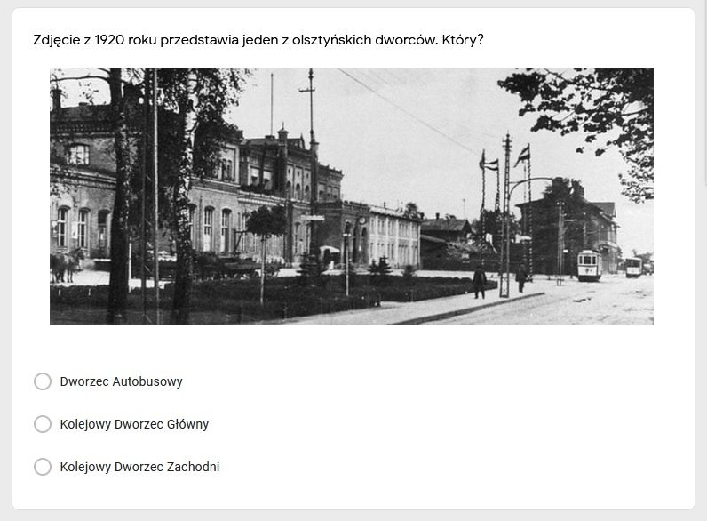 Fragment quizu historycznego Olsztyn w 1920 roku
